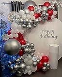 Kit guirnalda arco globos rojos, decoraciones cumpleaños rojas, globos rojos, globos blancos, globos plateados metálicos, globos confeti plateados para baby shower bodas aniversario fiesta decoración