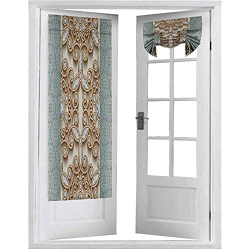 Curtains French Doors, Vintage Gold Swirling Lines Ornament with Diamonds Over Damask Retro Style Boho Print, 2 Panels-26' X 68' Window Curtains for Bedroom, Tan Teal