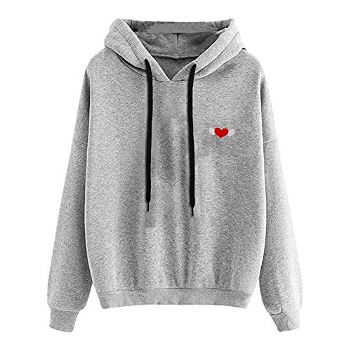 Fullwei Sweatshirt for Women,Women Crewneck Fashion Graphic Hoodies Sweatshirts Heart Print Ladies Casual Long Sleeve Loose Blouse Pullover Tops Shirt (Gray-2, XL)