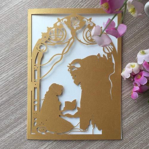 ERFHJ 50 stks/veel prachtige parel papier laser gesneden schoonheid en beest thema uitnodiging kaart bruiloft decoratie verjaardagskaart partij