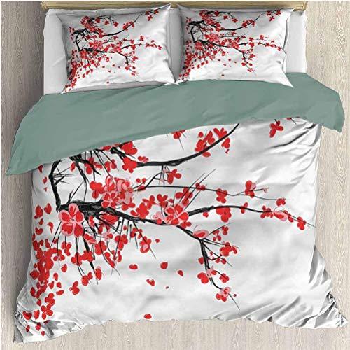 Juegos de Cama con Motivos Florales Funda nórdica Flores japonesas de Primavera Funda nórdica Juego de Cama y Funda de Almohada King Size