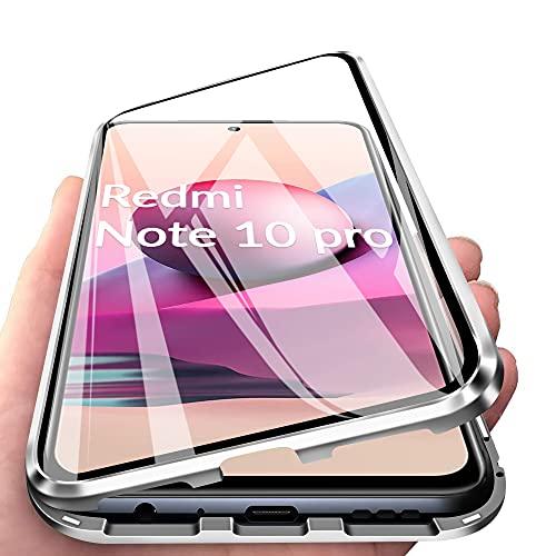 IEMY Funda para Xiaomi Redmi Note 10 Pro 4G Adsorcion Magnetica 360 Grados Protección Carcasa Cristal Transparente Templado Metal Flip Cover, Plata