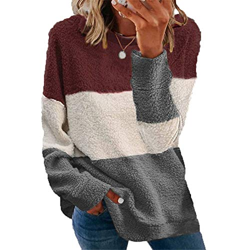 ZFQQ Autumn and Winter Women's Plush Stitching Contrast Coat Sweater