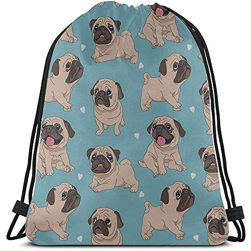Bouia Cartoon Dieren Huisdier Hond Mops koordsluiting strandtas polyester queen trekkoord tas mannen Gym Bag voor Gym reizen