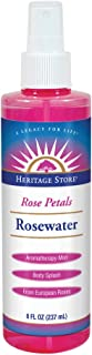 Heritage Store Rose Petals Rosewater | 100% Pure Vegan, Alcohol Free| Facial Toner & Moisturizer | Helps Skin, Hair & More | Mist Spray Btl | 8 oz