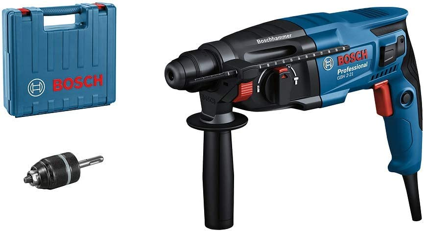 Bosch Professional GBH 2-21 - Martillo perforador combinado (2 J, Ø máx. hormigón 21 mm, SDS plus + cilíndrico automático, en maletín)
