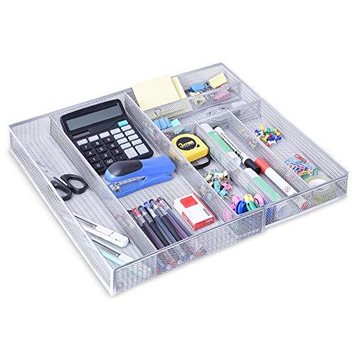 Organizzatore da scrivania con cassetti espandibili, da 6 a 7 scomparti, in rete metallica, organizer da scrivania per ufficio, per casa, ufficio, colore: argento
