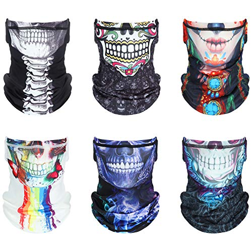 6 Pieces Unisex Kids Face Covering with Ear Loop Skull Skeleton Bandana Kids Cooling Neck Gaiter for Boy Girl Outdoor