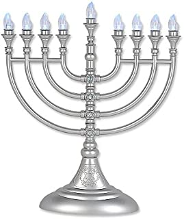 Traditional LED Electric Silver Hanukkah Menorah With Crystals - Battery or USB Powered - Includes a Micro USB 4' Charging Cable
