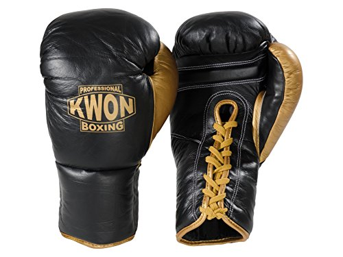Kwon Boxhandschuhe Leder mit Schnürung schwarz/gold