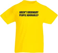 Brand88 Aren't Ordinary People Adorable?, Kids Printed T-Shirt - Yellow/Black 12-13 Years
