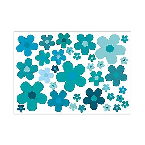 easydruck24de Aufkleber-Set Blumen Blümchen blau I Flower-Power Sticker für Roller Fahrrad Notebook Laptop Handy Auto-Aufkleber I wetterfest I kfz_241