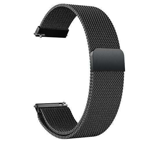 G-RF Bandas De Repuesto para Samsung Galaxy Watch Active 42mm, Acero Inoxidable De Metal Milanés Correa (Negro)