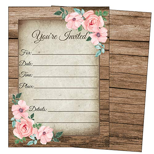 Elegant Rustic Invitations-Bridal or Baby Shower, Birthday, Wedding Rehearsal Dinner, Engagement, Bachelorette, Reception, Anniversary, Housewarming, Sweet 16, Retirement- 25 Invites and Envelopes