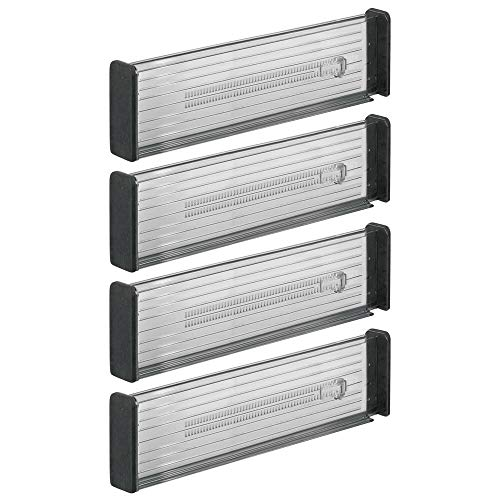mDesign 4er-Set Verstellbarer Schubladeneinsatz – praktischer Schubladen Organizer für Küchenschränke – Flexibler Schubladenteiler aus Kunststoff – dunkelgrau/schwarz