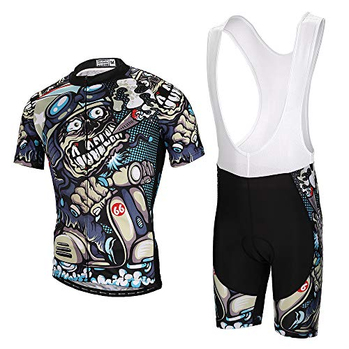 Skysper Hombres Jersey + Pantalones cortos Mangas cortas de Ciclismo Ropa Maillot Transpirable para Deportes al aire libre Ciclo Bicicleta