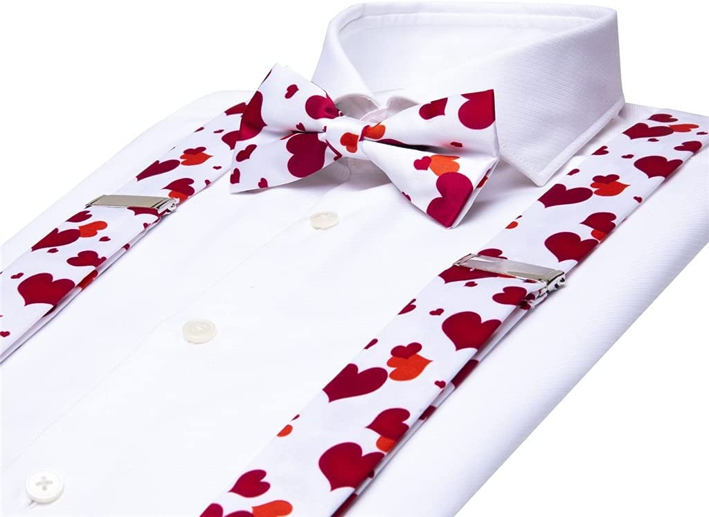 SKREOJF Men's Suspender Bow Tie Set Leather Metal 6 Clips Vintage Male Fashion Red Heart Wedding Suspenders Men (Color : A, Size : Adjustable)