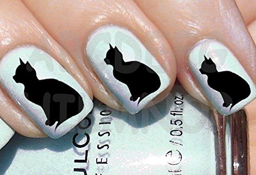 AWS Lot de 60 autocollants pour chat noir chatons noirs et chats Nail Art
