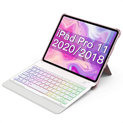Inateck iPad Pro 11 2020/2018 Backlit Keyboard Case, with Kickstand and Pencil Holder, Detachable,UK Layout, KB02005,Pink