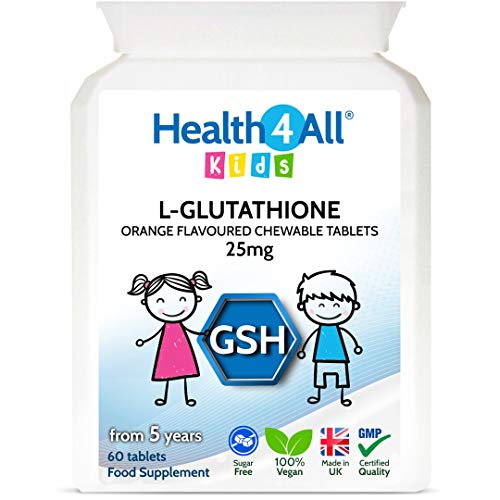 Kids L-Glutathione 25mg Chewable 60 Tablets Reduced Glutathione (GSH) Antioxidant for Children. Made in The UK by Health4All Kids