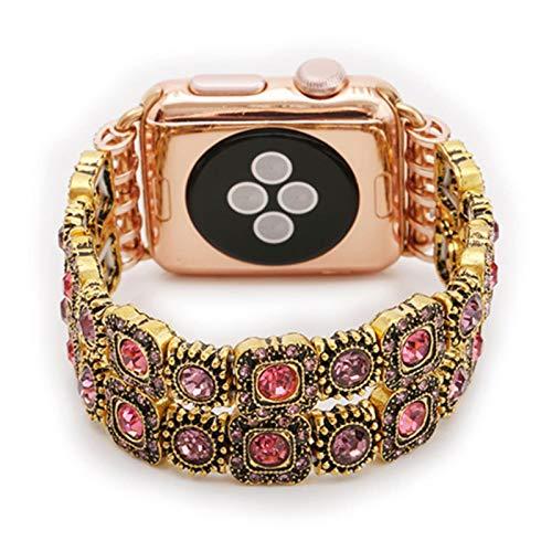Correa de diamantes dorados para Apple Watch Correa 38 mm 42 mm 40 mm 44 mm Banda de gemas de metal para iwatch Series SE 6 5 4 3 2 1 Pulsera