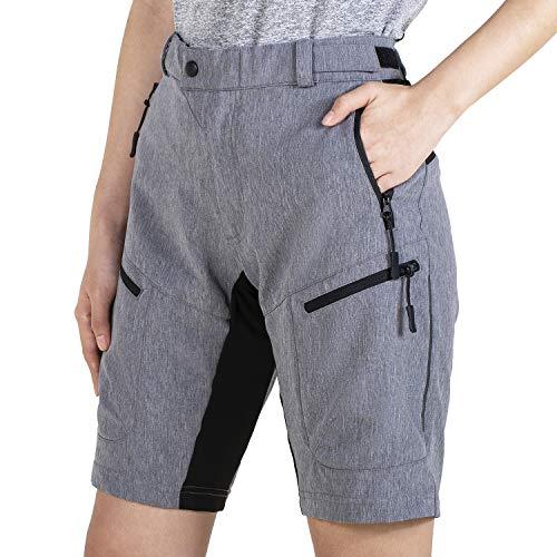 Wespornow Damen-MTB-Kurz-Hose Outdoor-Shorts Kurz-Wanderhose MTB-Shorts Radsportshorts für Damen (Grau, Medium)