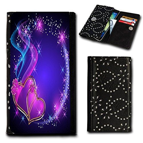 Strass Book Style Flip Handy Tasche Hülle Schutz Hülle Foto Schale Motiv Etui für Archos 50C Platinum - Flip SU2 Design5