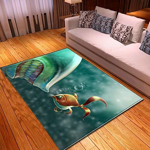 Home Carpet, Cartoon Underwater Shark Goldfish Printed Carpet, Modren Kitchen Corridor Bedroom Rug 140x200cm