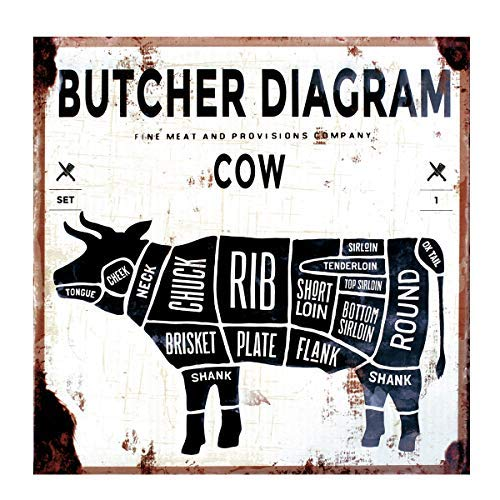 LB H&F Blechschild Küche Retro Vintage Blech Metallschild Steak Rind Fleisch braun Essen Kochen 30x30 cm