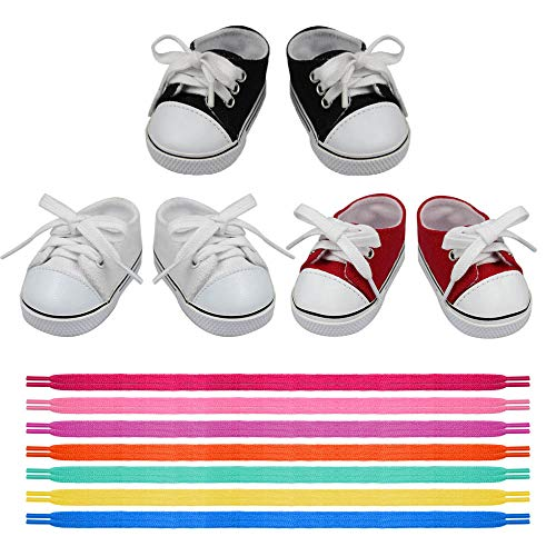 18 Inch Doll Shoes - 3 Pairs Doll Sneakers+7 Laces, Doll Accessories Fits 18