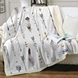 Sleepwish Native Sherpa Reversible Throw Tribal Watercolor Fleece Blanket Boho Arrows Feathers Warm and Fuzzy Blankets for Bed or Couch Twin(60'x80')