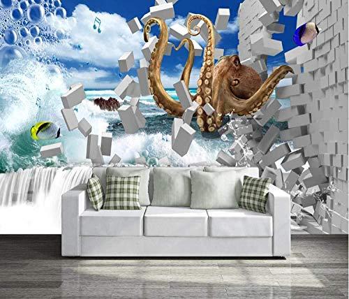 Fototapete 3D Octopus Mauer Fresco Foto Fernseher Sofa Hintergrund Seide Wandmalerei,Kunst Tapeten für Wohnzimmer Schlafzimmer Einrichtung 300cm(W) x210cm(H)-6 Stripes