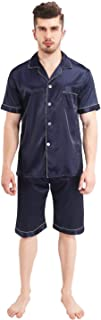 HX fashion Men's Pajamas His Or Her's Button Down Short Pants and Short Sleeves Classic Long Pant and Long Sleeves Satin P...