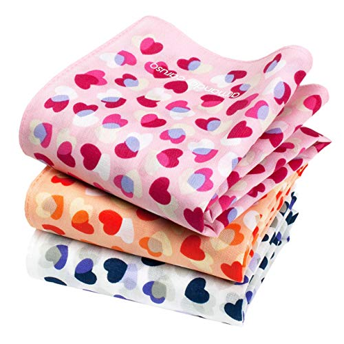 Armando Caruso - Feine Taschentücher mit Motivverschlungenen Herzen - Cœurs Joyeux Muster - Größe 40cm x 40cm - 3 Stück Box - 100% Seidige Baumwolle