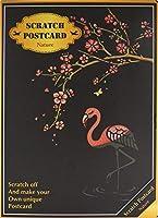 【4枚入り】 スクラッチアート ポストカード 花 建物 動物 簡単 ヒーリング 絵画 スクラッチ カード (動物と華) PR-SCRATCHCARD-ANML