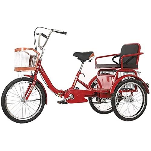 zcyg Dreirad 3 Rad Fahrrad Dreirad Erwachsene Senioren Trike 20 Zoll Erwachsene Trike Cruise Bike Mit Großformat Korb Für Erholung Einkaufen übung Männer Frauen Fahrrad(Size:20Inch,Color:rot)