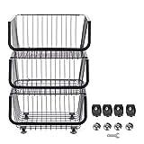 Omabeta Drahtkorb Mobile Organizer Praktischer Rostschutz-Rollbehälter Langlebiges Bügeleisen für Küchenbedarf(3 Layers)