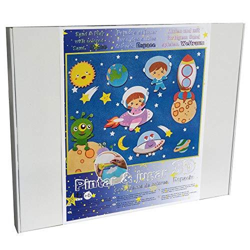 ARENART | Pack 7 Astronautenfiguren 45x35cm | mit farbigem Sand malen | Kunsthandwerk für Kinder | Kinderzeichnung | Malen nach Zahlen | +6 Jahre