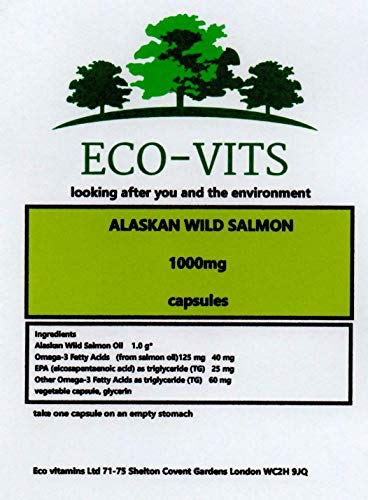 ECO-VITS Alaskan Wild Salmon 1000MG 365 CAPS. Biodegradable Packaging. Sealed Pouch