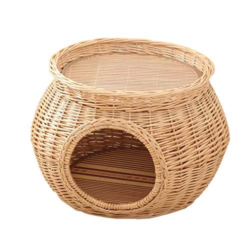 CDDJJ Rattan Summer Cool Nest Nest Willow Cathow Cats House Villa Small se Puede Desmontar y lavarse en Cuatro Temporadas