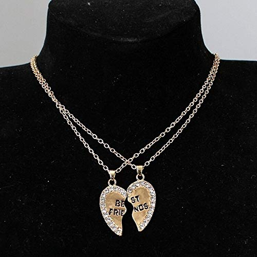 VCX 2-delige Ketting Heart Pendant Best Friends Letters Collier Vrouwen Metal Couple Gouden Ketting sieraden for mannen (Length : 46cm, Metal Color : Golden)