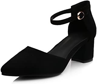 BalaMasa Womens Sandals Closed-Toe No-Closure Ankle-Wrap High-Heels Cold Lining Water_Resistant Nubuck Huarache Urethane Sandals ASL04298