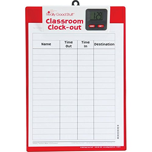 """Really Good Stuff Classroom Clock-Out Clipboard – Keep Track of Students with Sign-Out/Sign-in Sheet and Digital Clock – Durable Clipboard with Easy-to-Read Clock, 9"""" x 13"""""""