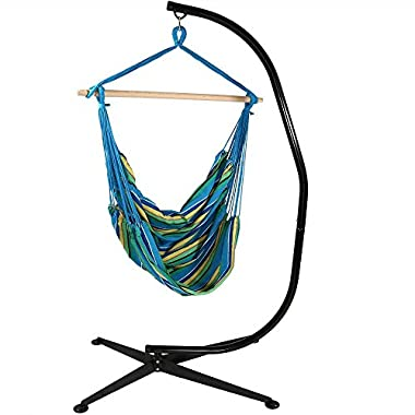 Sunnydaze Jumbo Extra Large Hammock Chair with C-Stand, Ocean Breeze, for Indoor or Outdoor Use, Max Weight: 300 Pounds