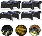 8 lámparas solares para escaleras, vallas, IP65, resistentes al agua, LED, luz solar para escaleras, caminos de jardín, terraza (negro, 8 unidades)
