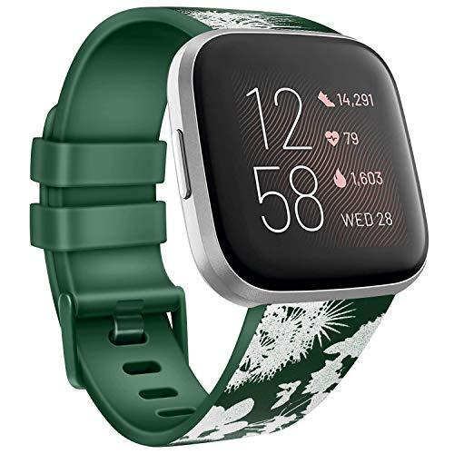AK - Correa de repuesto compatible con Fitbit Versa 2, correa para Fitbit Versa, correas deportivas de silicona suave para Versa Lite/Versa Special Edition/Versa 2, Flor gris/verde oliva, Large