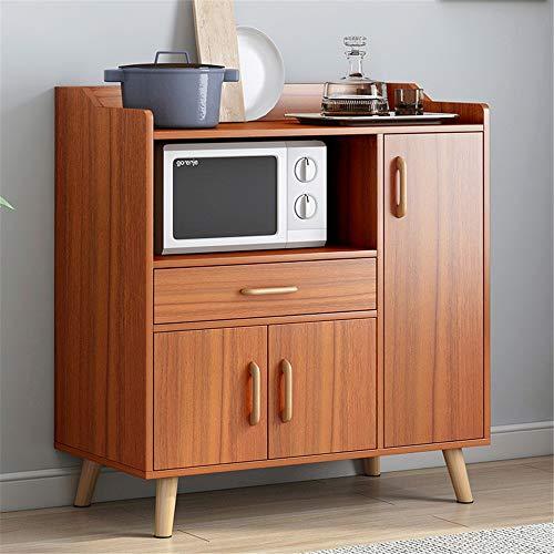 NBNBN Massives Holz Sideboard Freistehender Lagerschrank Displayschrank Eingangsschrank mit 3 Schubladen und 1 Tür Sideboard Lagerschrank Multi Compartment Display (Farbe : Braun, Size : 90x34x97cm)