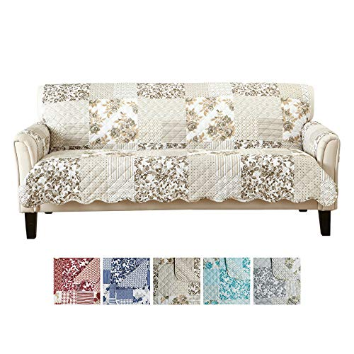 Great Bay Home Patchwork Scalloped Printed Furniture Protector. Stain Resistant Couch Cover. (Sofa, Taupe)