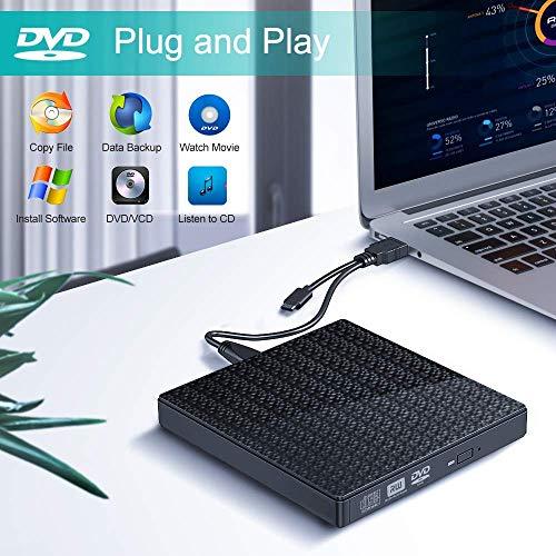Externes CD DVD Laufwerk,DVD Laufwerk USB 3.0 Type-c Dual Port DVD Brenner Tragbare mit SD-TF-Kartenleser Ultra Slim DVD-CD-RW-ROM-Brenner für Laptop-PC Windows 7/8/10 / Vista/XP/Mac OS