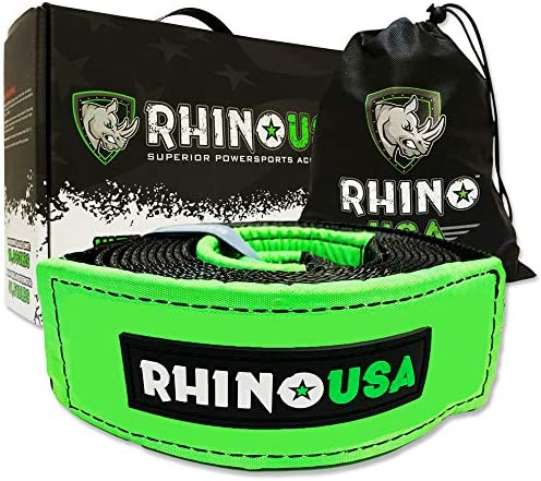 Rhino USA Recovery Tow Strap 4in x 30ft Lab Tested 40 320lb Break Strength Heavy Duty Draw String product image